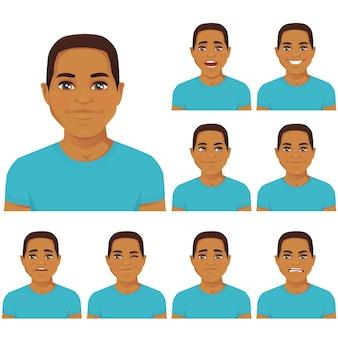 Atrakcyjny młody człowiek z różnymi wyrazami twarzy ustawionymi na białym tle