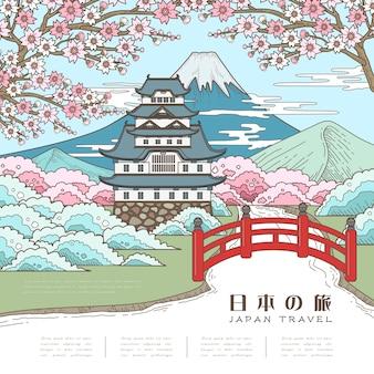 Atrakcyjny plakat podróżniczy do japonii z sakurą japan travel w języku japońskim