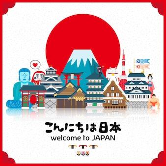 Atrakcyjny plakat podróżny do japonii ze słońcem hello japan w języku japońskim