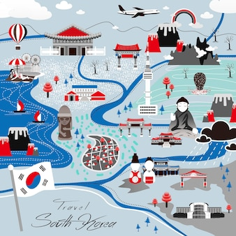 Atrakcyjny plakat podróżny do korei południowej w płaskim stylu