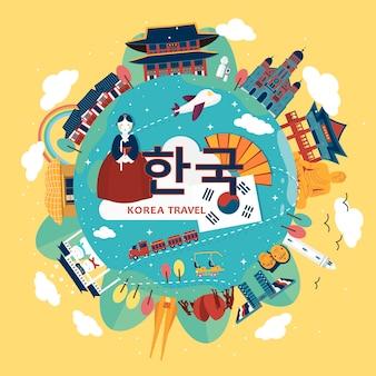 Atrakcyjny plakat turystyczny korei w płaskim stylu - korea w koreańskich słowach pośrodku