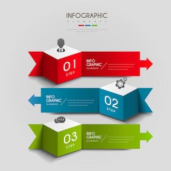 Atrakcyjny projekt infografiki z elementami 3d kostki i strzałki
