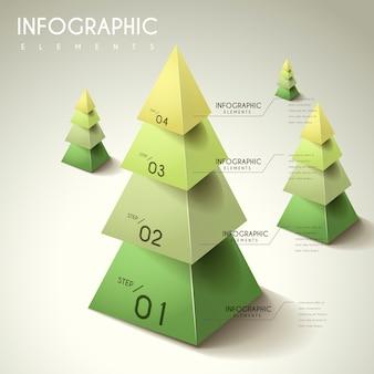 Atrakcyjny projekt infografiki z elementami drzewa 3d