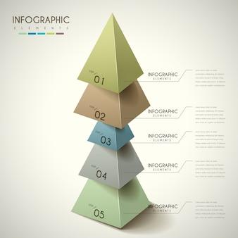 Atrakcyjny projekt infografiki z elementami trójkątów 3d