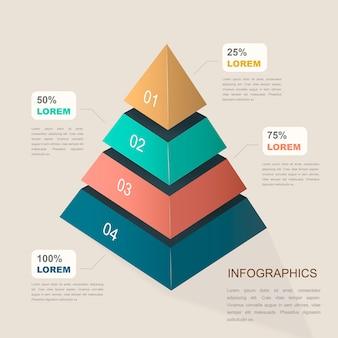 Atrakcyjny projekt szablonu infografiki z elementami piramidy