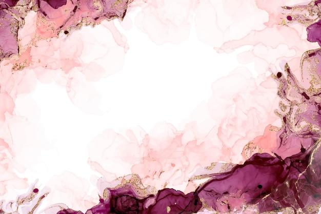 Atrament alkoholowy różowy i fioletowy kolorowy brokat tło akwarela