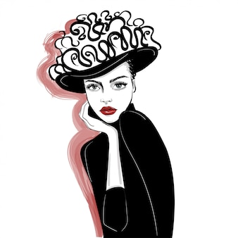 Atrament portret kobiety w urządzony kapelusz
