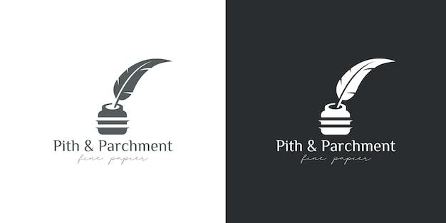 Atramentowe logo i gęsie pióro