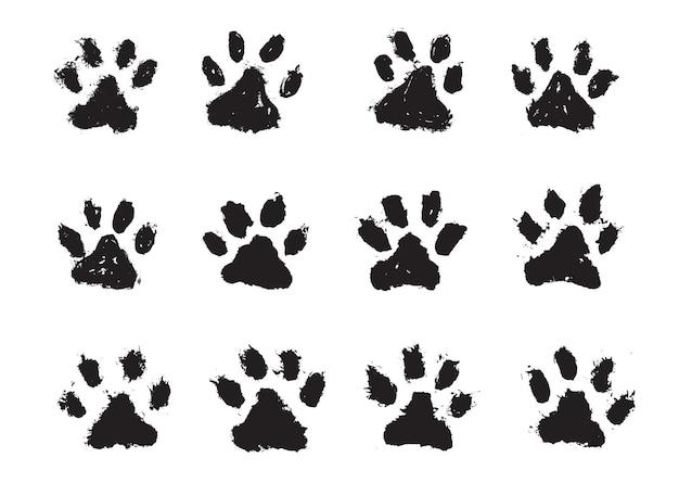 Atramentowe psy łapa koty łapa w stylu grunge