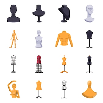 Atrapa kobiet do elementów kreskówki atelier. odosobniona ilustracja mannequin dla krawczyny. zestaw elementów manekina.