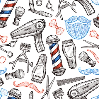 Atrybuty barber shop doodle seamless pattern
