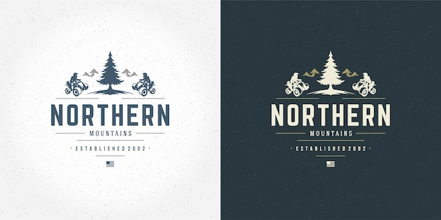 Atv logo emblemat ilustracja off road mountain expedition set