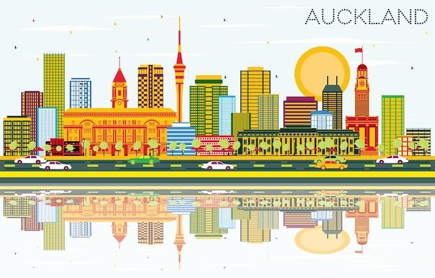 Auckland skyline z kolorowymi budynkami, błękitnym niebem i odbiciami. ilustracja wektorowa. podróże służbowe i koncepcja turystyki z nowoczesnymi budynkami. obraz banera prezentacji i witryny sieci web.