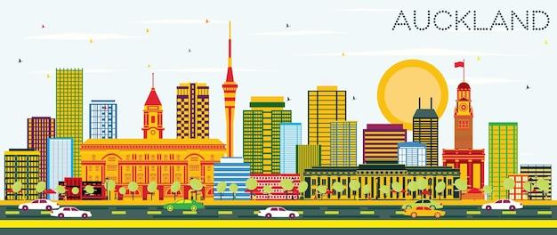 Auckland skyline z kolorowymi budynkami i błękitnym niebem. ilustracja wektorowa. podróże służbowe i koncepcja turystyki z nowoczesnymi budynkami. obraz banera prezentacji i witryny sieci web.