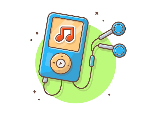 Audio music player ze słuchawkami, nuty. przenośny odtwarzacz multimedialny biały na białym tle