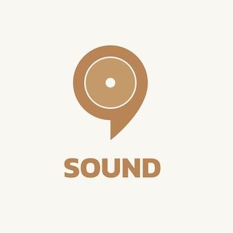 Audiowizualny szablon logo firmy, wektor projektu marki, tekst dźwiękowy