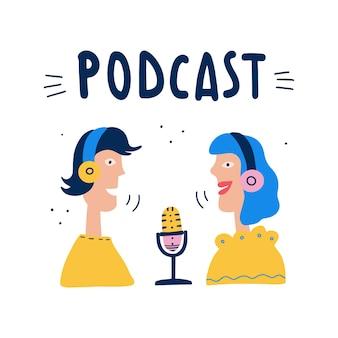 Audycja radiowa lub koncepcja podcastów na blogu audio prezenterzy radiowi w słuchawkach w studio