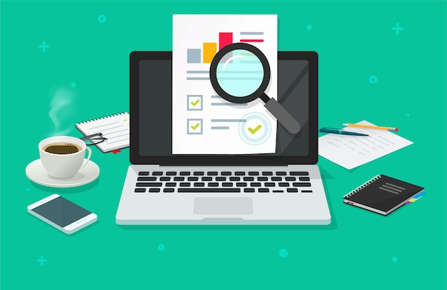 Audyt finansowy, analiza danych sprzedażowych, raport online na laptopie, raport z analizy komputera