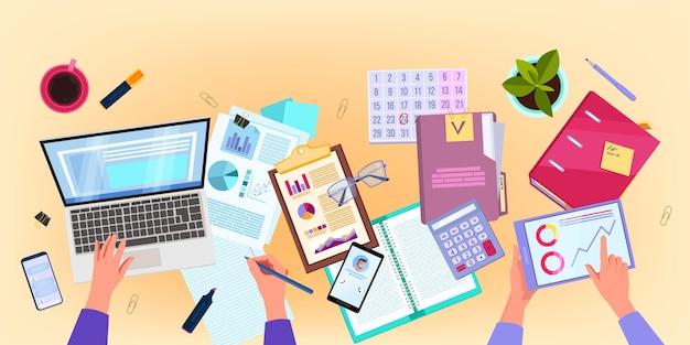 Audyt finansowy i analiza biznesowa płaska ilustracja