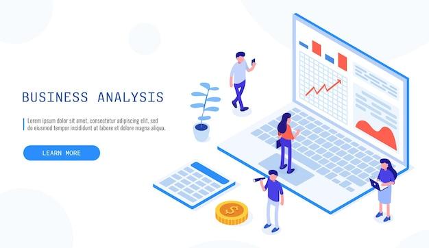 Audyt, koncepcja analizy biznesowej z postaciami. pojęcie możliwości. dokumentacja graficzna i audytowa, analiza ekonomiczna, budżet finansowy. wektor izometryczny baner internetowy na stronę docelową.