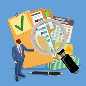 Audyt, podatki, baner rachunkowości biznesowej. audytor, szkło powiększające i teczka ze sprawdzonymi raportami finansowymi, kalendarzem i pieniędzmi. ikony stylu płaski. ilustracja wektorowa na białym tle