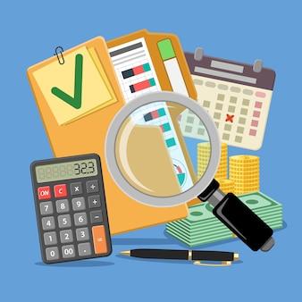 Audyt, podatki, baner rachunkowości biznesowej. szkło powiększające i folder ze sprawdzonymi raportami finansowymi, kalkulatorem, kalendarzem i pieniędzmi. ikony stylu płaski. odosobniony