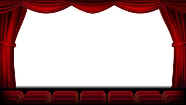 Audytorium z siedzeniem wektorowym. czerwona kurtyna. teatr, ekran kinowy i fotele. scena i krzesła. realistyczna ilustracja