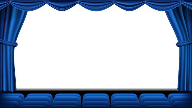 Audytorium z siedzeniem wektorowym. niebieska kurtyna. teatr, ekran kinowy i fotele. scena i krzesła. niebieska kurtyna. teatr. realistyczna ilustracja.