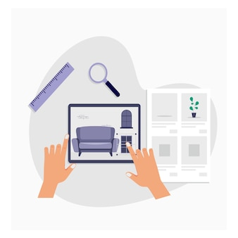 Augmented reality furnitureinterior flat design