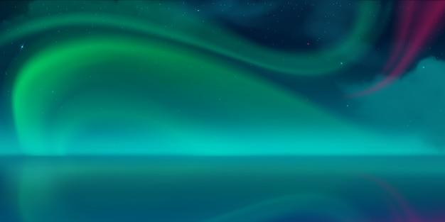 Aurora borealis, zorza polarna na nocnym niebie