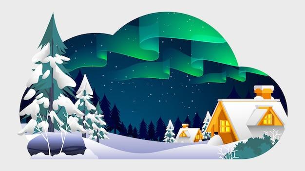 Aurora w ilustracji sezonu zimowego