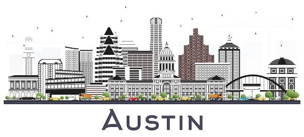 Austin texas city skyline z szarymi budynkami na białym tle. ilustracja wektorowa. podróże służbowe i koncepcja turystyki z nowoczesną architekturą. austin usa gród z zabytkami.