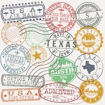 Austin texas zestaw pieczątek podróży i firm