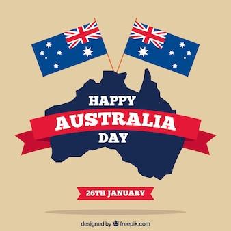 Australia day tle z dwoma flagami i mapa w płaskiej konstrukcji