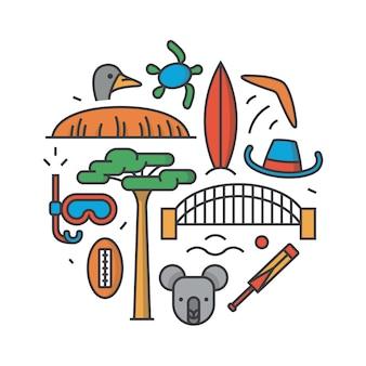 Australia, ilustracja kontur, wzór, białe tło: bumerang, kapelusz, niewolnik, most, krykiet, koala, drzewo baobab, sport, góra uluru, struś, żółw