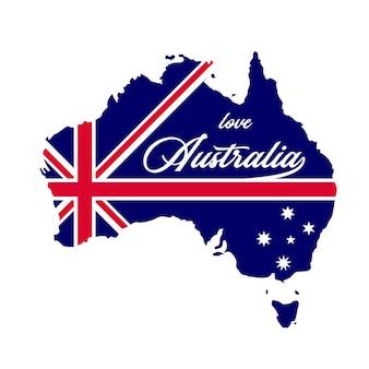 Australia mapa kraju z niebieską flagą australii wewnątrz ilustracji