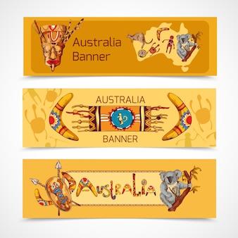 Australia rodzimych aborygenów plemiennych etnicznych kolorowych szkic poziomych transparentu zestaw izolowanych ilustracji wektorowych