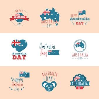 Australia święto narodowe święto wolności wydarzenie ikony zestaw ilustracji