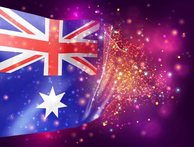 Australia, Wektor 3d Flaga Na Różowym Fioletowym Tle Z Oświetleniem I Flarami Premium Wektorów