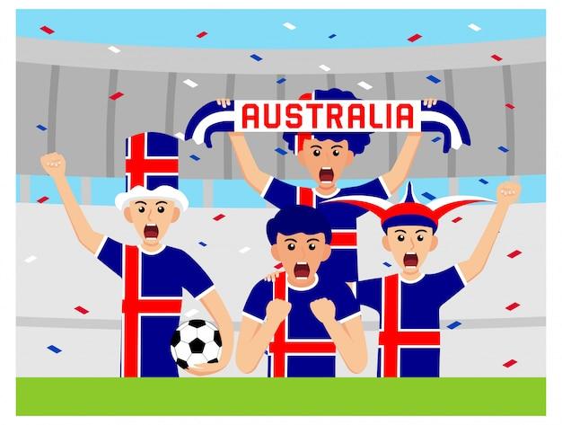 Australijscy kibice w płaskiej konstrukcji