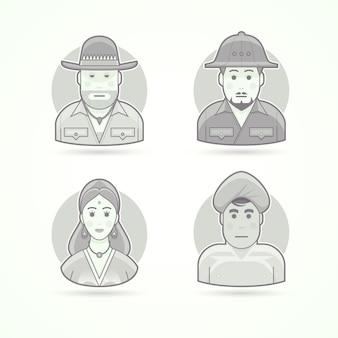 Australijski myśliwy, buszmen, afrykański odkrywca, hinduska, mężczyzna z indii. zestaw ilustracji postaci, awatarów i osób. czarno-biały styl konturowy.