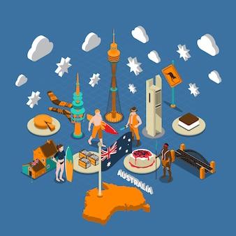 Australijskie atrakcje turystyczne symbole izometryczny skład