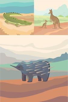 Australijskie zwierzęta krokodyl, kangur i kolczatka płaski.