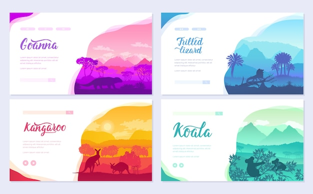 Australijskie zwierzęta w naturalnym środowisku na broszurze. szablon ulotki, wprowadź zaproszenie na witrynę.