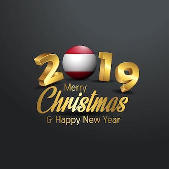 Austria flaga 2019 wesołych świąt typografia