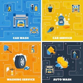 Auto centrum myjnia 4 płaskie ikony kwadratowy skład