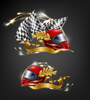 Auto, kierowca wyścigowy, czerwony zwycięzca wyścigu, kask na całą twarz z liśćmi laurowymi