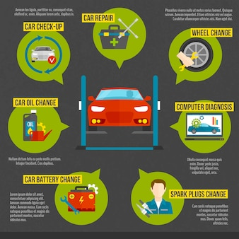 Auto mechanik infografiki
