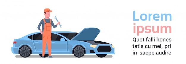 Auto mechanik mężczyzna naprawa uszkodzony samochód. szablon tekstu. auto service concept