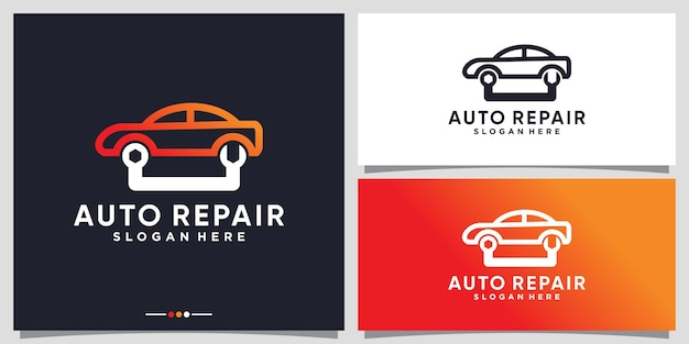 Auto naprawa logo serwis samochodowy z kreatywną koncepcją premium wektorów